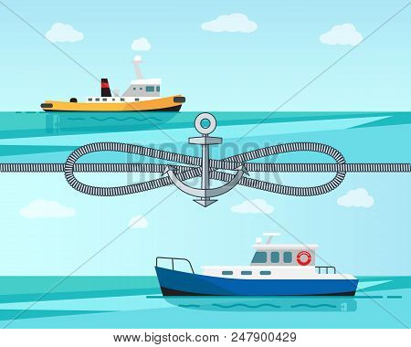 Sea Transport Color Banner Vector Illustration With Grey Cordage Blue And Yellow Sea Ships, Cordage