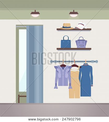 Vogue Clothes Shop, Color Vector Illustration, Pair Of Handbags On Shelf, Cute Hat And White Cap, Vo
