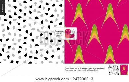 Food Patterns, Summer - Fruit, Dragonfruit Texture, Tiny Half Of Dragon Fruit Image In Center - Two