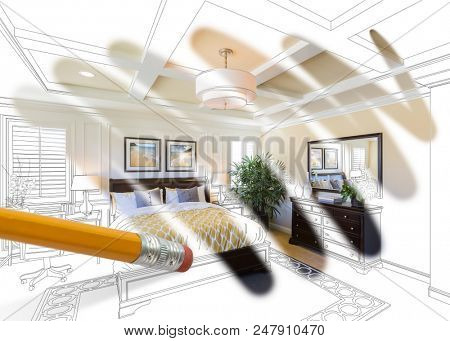 Pencil Erasing Drawing To Reveal Finished Cutom Bedroom Design Photograph