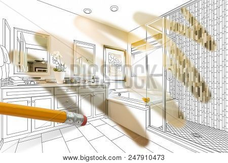 Pencil Erasing Drawing To Reveal Finished Cutom Bathroom Design Photograph