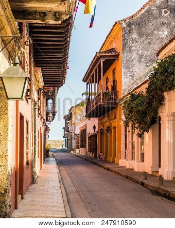 Cartagena, Colombia. march 2018. A view of a typically colourful street in Cartagena Colombia. poster
