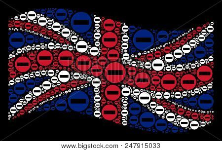 Waving English Flag On A Black Background. Vector Forbidden Access Elements Are Placed Into Conceptu