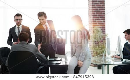 meeting business partners in a modern office