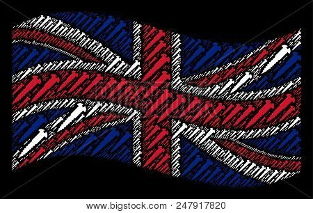 Waving United Kingdom Official Flag On A Black Background. Vector Screw Icons Are Arranged Into Mosa