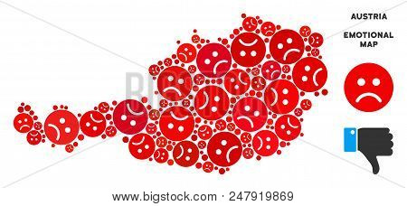 Sorrow Austria Map Composition Of Sad Emojis In Red Colors. Negative Mood Vector Template Of Crisis
