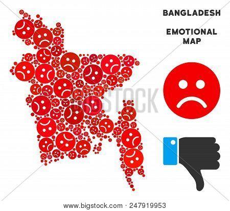 Sorrow Bangladesh Map Mosaic Of Sad Emojis In Red Colors. Negative Mood Vector Concept Of Crisis Reg