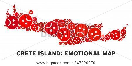 Sorrow Crete Island Map Composition Of Sad Emojis In Red Colors. Negative Mood Vector Template Of Cr