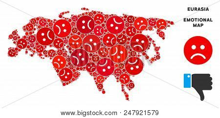 Emotional Eurasia map collage of sad emojis in red colors. Negative mood vector template of depression regions. Eurasia map is formed of red upset emotion symbols. Abstract area scheme. poster