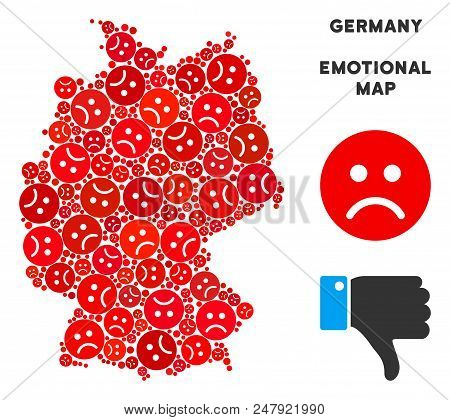 Sorrow Germany Map Composition Of Sad Emojis In Red Colors. Negative Mood Vector Concept Of Depressi
