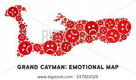 Sorrow Grand Cayman Island Map Composition Of Sad Emojis In Red Colors. Negative Mood Vector Concept