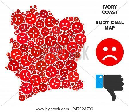 Emotional Ivory Coast map mosaic of sad emojis in red colors. Negative mood vector concept of crisis regions. Ivory Coast map is created from red sad icons. Abstract territory scheme. poster