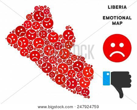 Sorrow Liberia Map Composition Of Sad Emojis In Red Colors. Negative Mood Vector Concept Of Crisis R