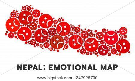 Sorrow Nepal Map Mosaic Of Sad Emojis In Red Colors. Negative Mood Vector Concept Of Depression Regi