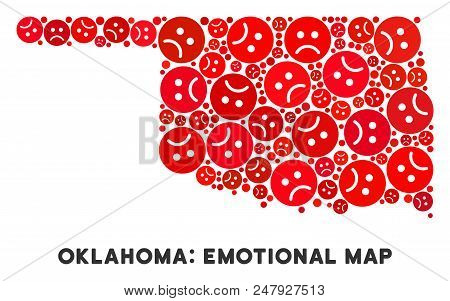 Sorrow Oklahoma State Map Composition Of Sad Emojis In Red Colors. Negative Mood Vector Template Of