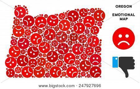 Emotion Oregon State Map Composition Of Sad Emojis In Red Colors. Negative Mood Vector Concept Of De