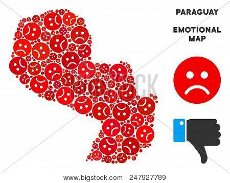 Sorrow Paraguay Map Mosaic Of Sad Emojis In Red Colors. Negative Mood Vector Concept Of Crisis Regio