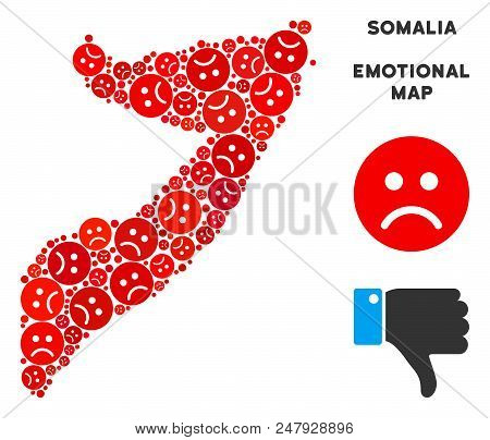 Sorrow Somalia Map Composition Of Sad Emojis In Red Colors. Negative Mood Vector Concept Of Depressi