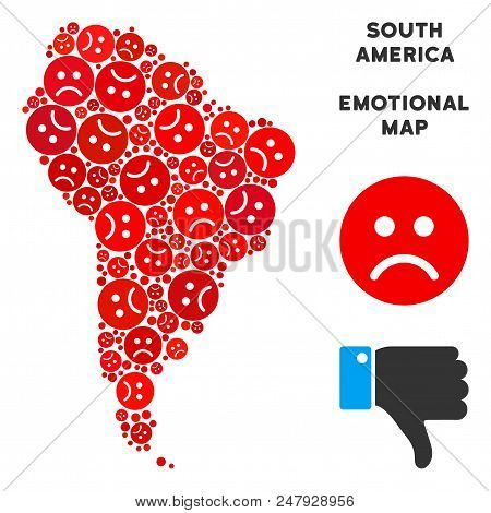 Sorrow South America Map Mosaic Of Sad Emojis In Red Colors. Negative Mood Vector Concept Of Crisis