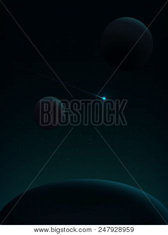Among The Stars Flying Comet. View From Space. Space Landscape In Green Tones. Space Travel. The Ene