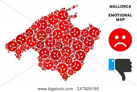 Emotion Spain Mallorca Island Map Collage Of Sad Emojis In Red Colors. Negative Mood Vector Template