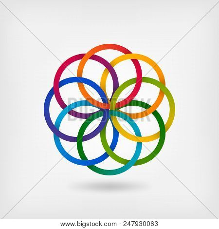Interlaced Colored Rings. Floral Symbol In Gradient Colors. Vector Illustration - Eps 10