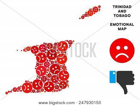 Sorrow Trinidad And Tobago Map Composition Of Sad Emojis In Red Colors. Negative Mood Vector Templat