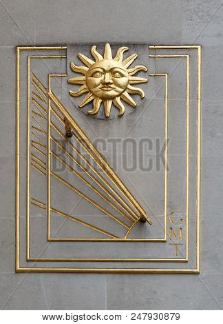 Sundial With Sun For Telling The Time