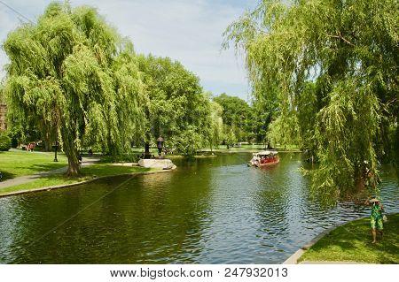 Gorgeous Views Of The Pond At The Boston Public Garden In Boston, Massachusetts.