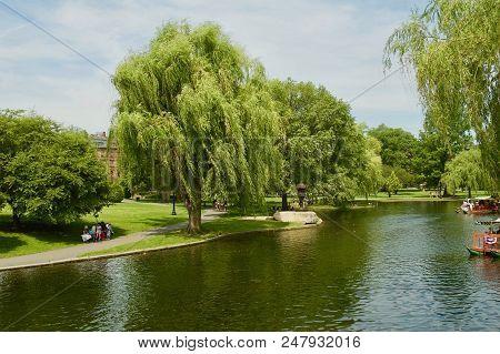 Scenic Landscape View Of The Boston Public Garden In Boston, Massachusetts.