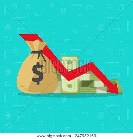 Money Loss Vector Illustration, Flat Cartoon Paper Cash With Down Arrow Stocks Graph, Concept Of Fin
