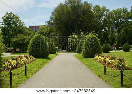 Romantic Garden Pathway At The Boston Public Garden In Boston, Massachusetts.