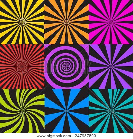 Vector Set Of Sunburst And Spiral Backgrounds. Abstract Seamless Pattern In Retro Comic Style. Radia