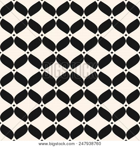 Ornamental Mesh Seamless Pattern. Abstract Graphic Black And White Background With Wavy Shapes, Deli