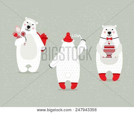 Set Of Beautiful White Polar Bears, On Festive Women's Day.