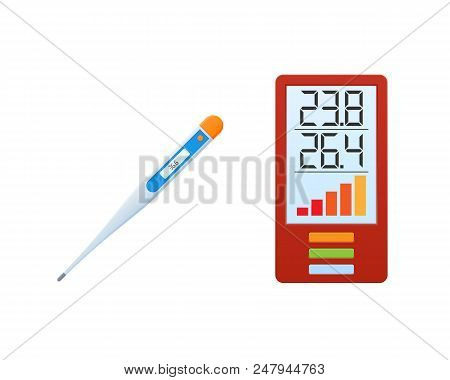 Concept Of Fire Safety. Elimination Of Fire And Fight With Smoke. Thermometer With Temperature, Fire