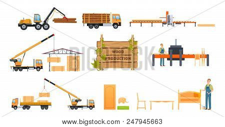 Wood Production Concept. Cargo Working Car For Freight Transport For Transportation Of Resources, St