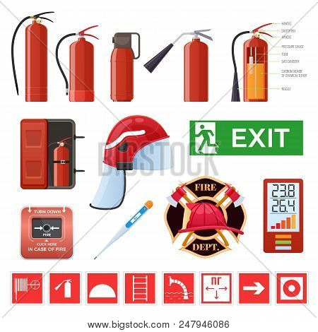 Set Of Various Red Metal Fire Extinguishers, Various Forms And Nozzles And Hoses. Firefighting, Elim