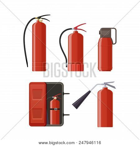 Set Of Various Red Metal Fire Extinguishers, Various Forms And Nozzles And Hoses. Concept Of Firefig
