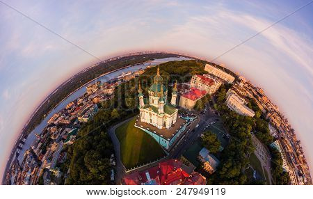Full Aerial View Panorama 360 Degrees Of Kiev City, St. Andrew's Church, Andrew's Descent And The Hi