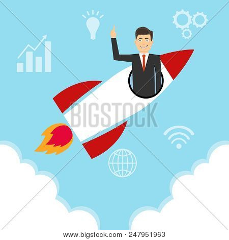 A Startup, A Startup Icon, A Rocket Flying In The Clouds With A Man In The Form Of A Startup. Flat D