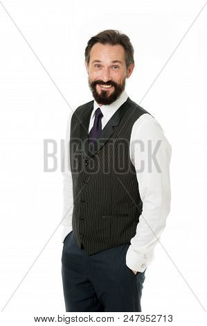Charisma As Key To Success. Businessman Cheerful Face. Businessman Classic Formal Suit Hold Hands In