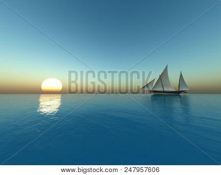 Sailing at sunset - digital artwork