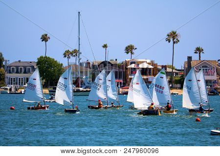 July 2, 2018 In Newport Beach, Ca:  Group Of People Sailing In Small Sail Boats Called The Dinghy Bo