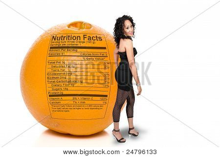 Black Woman With Orange Nutrition Facts