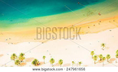 Aerial Birdeye View Of Las Teresitas Beach, Tenerife Island Banner