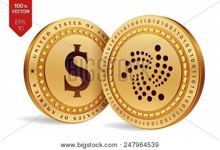 Iota. Dollar Coin. 3d Isometric Physical Coins. Digital Currency. Cryptocurrency. Golden Coins With