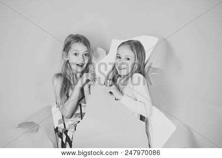 Surprised Children. Fashion And Beauty, Little Princess. Children Girls In Dress, Family, Sisters. F