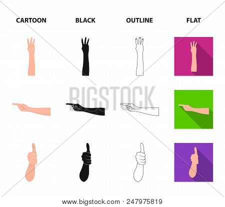 Sign Language Cartoon, Black, Outline, Flat Icons In Set Collection For Design.emotional Part Of Com