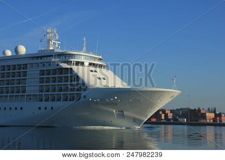 Velsen, The Netherlands - June 18th 2017: Silver Whisper- Silversea Cruises On North Sea Channel Tow